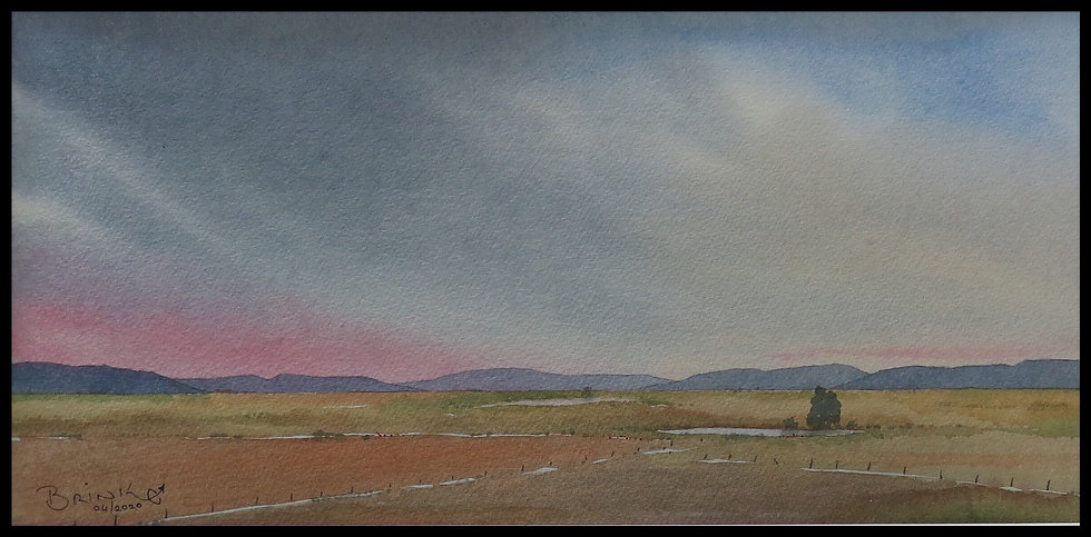 AFTER THE MORNING RAIN. 490mm x 240mm. Framed. Watercolour by Johan Brink..