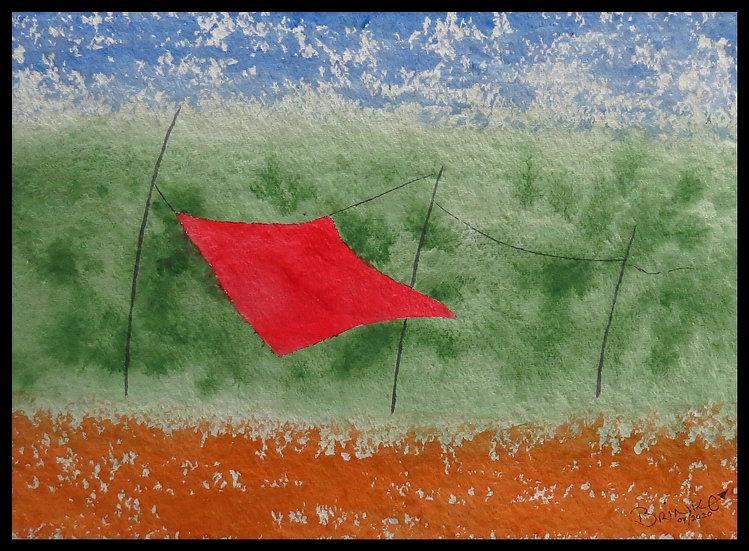 Joy in the wind. 465mm x 335mm. Framed. Watercolour by Johan Brink..