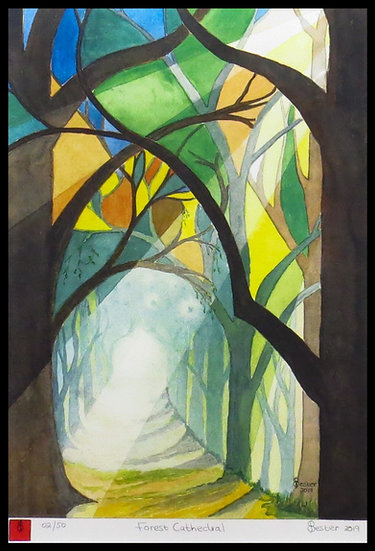 FOREST CATHEDRAL. Signed limited-edition print by Elzette Bester.