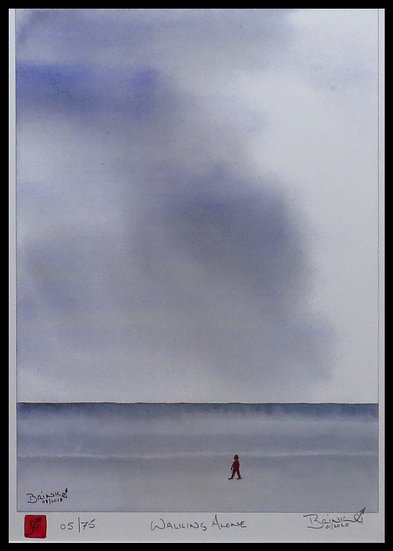 WALKING ALONE. Signed limited-edition print by Johan Brink.
