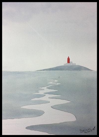 TOWARDS THE LIGHT. 360mm x 260mm. Framed. Watercolour by Johan Brink.