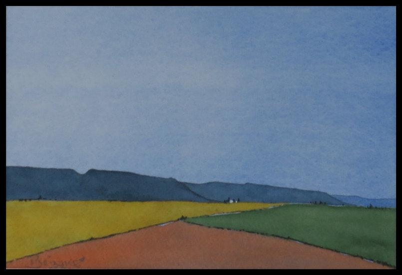 Caledon, towards dusk. 280mm x 190mm. Framed. Watercolour by Johan Brink..
