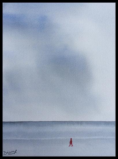 WALKING ALONE. 400mm x 500mm. Framed. Watercolour by Johan.