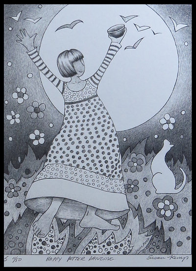 HAPPY POTTER DANCING. Signed, limited-edition print by Susan Kemp