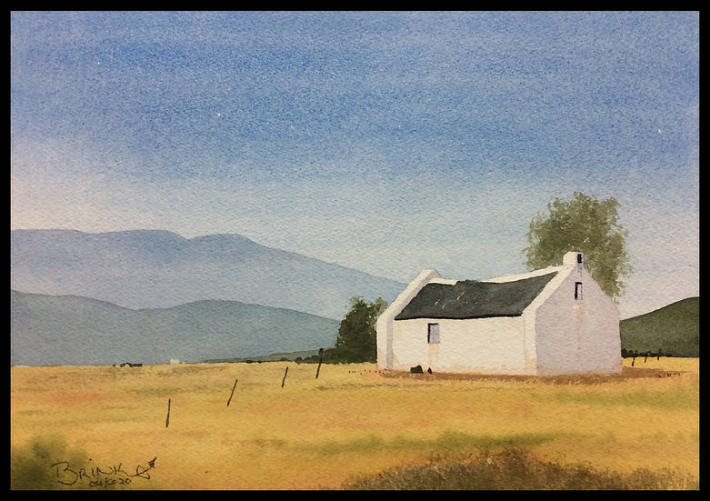 UNCLE TIM'S COTTAGE. 370mm x 260mm. Framed. Watercolour by Johan Brink..