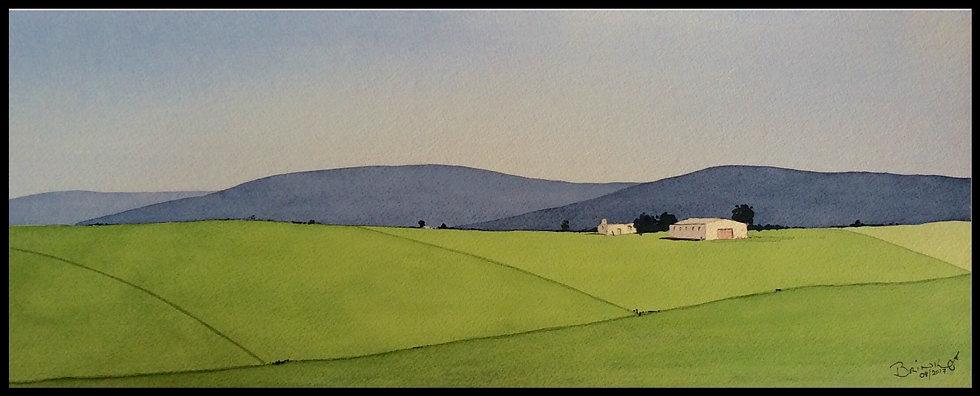 NEAR MALMESBURY. 570mm x 235mm. Framed. Watercolour by Johan Brink..