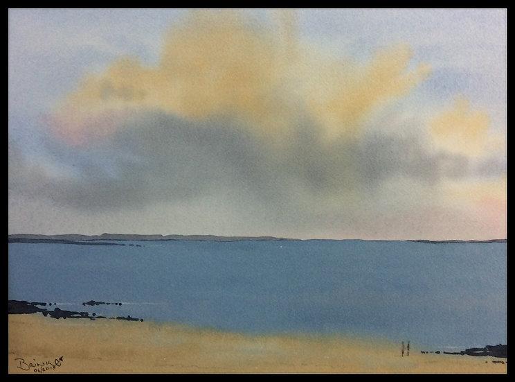THE BEACH. 455mm x 315mm. Framed. Watercolour by Johan Brink..