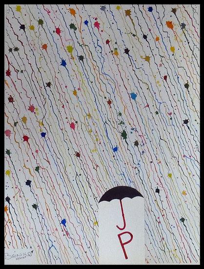 JACKSON IN THE RAIN. 500mm x 380mm. Framed. Watercolour by Johan Brink