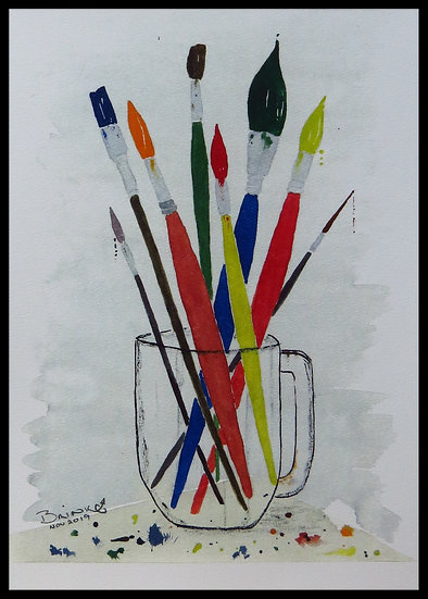 MY BRUSHES. mm x mm. Framed. Watercolour by Johan Brink..