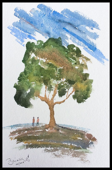 YOU, ME AND THE TREE. mm x mm. Framed. Watercolour by Johan.