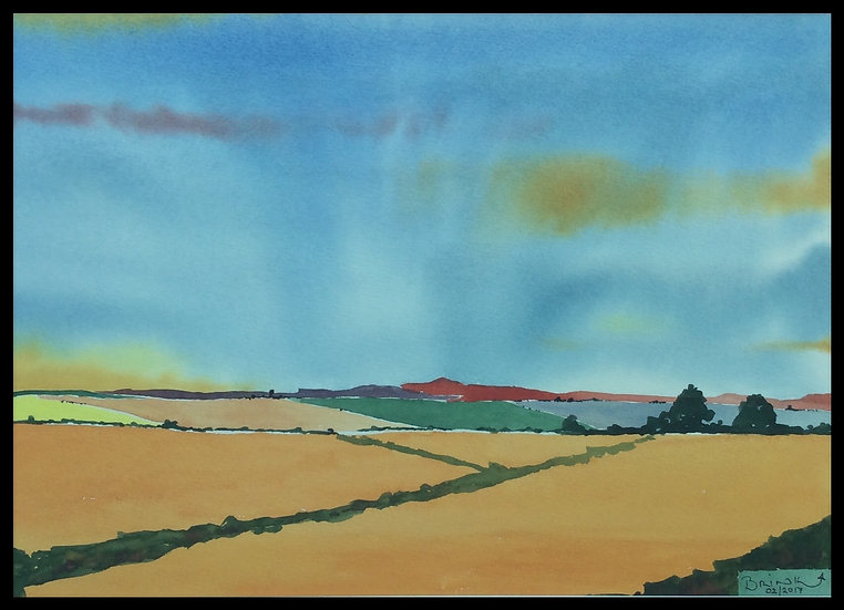 OVERBERG. 510mm x 330mm. Framed. Watercolour by Johan Brink.
