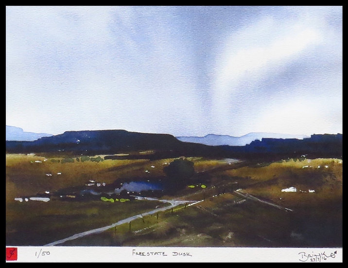 FREE STATE DUSK. Signed limited-edition print by Johan Brink.