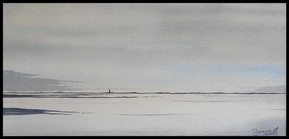 SOFT MORNING.  490mm x 240mm. Framed. Watercolour by Johan Brink..