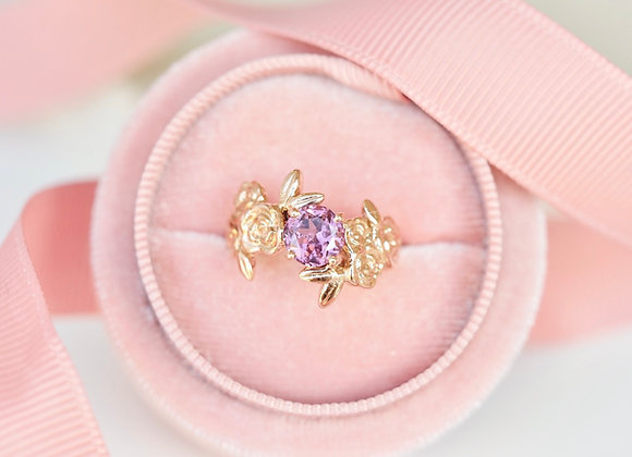 Rose Gold Floral Cluster Spinel Ring size L