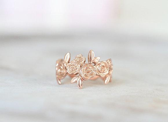 Adjustable 9ct Rose Gold Floral Ring
