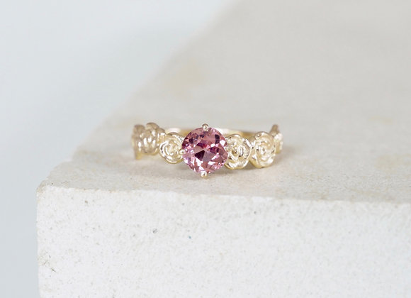 9ct Yellow Gold Floral Pink Spinel Engagement ring