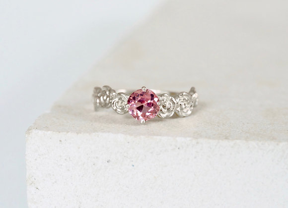 9ct White Gold Floral Pink Spinel Engagement ring