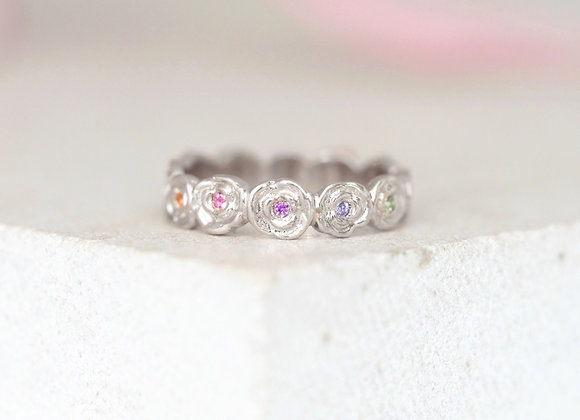 White Gold Rainbow Ring of Roses