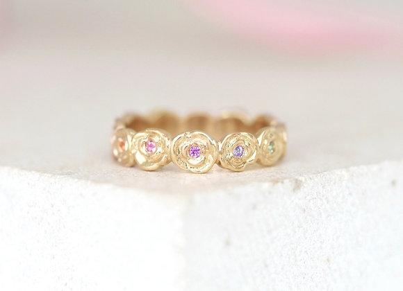 Rainbow Sapphire Ring of Roses