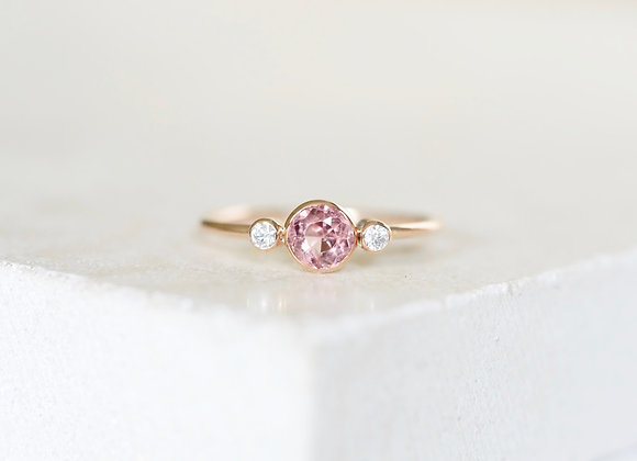 Blush Spinel and diamond Rose Gold Ring Size P