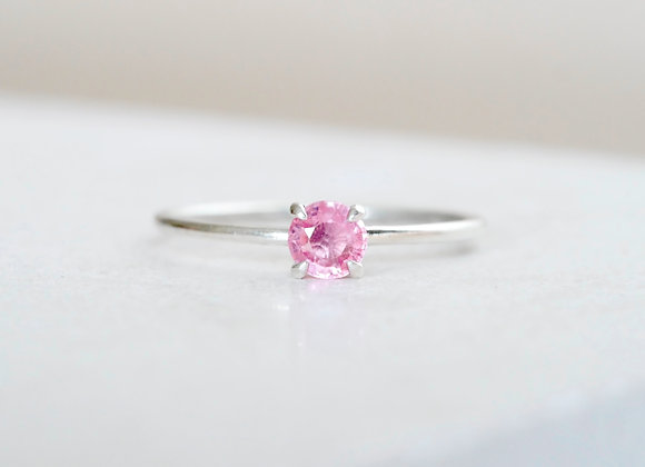 Pink Sapphire White gold Ring Size O
