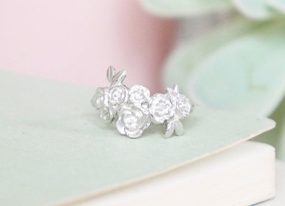 Sterling Silver Floral Cluster Ring