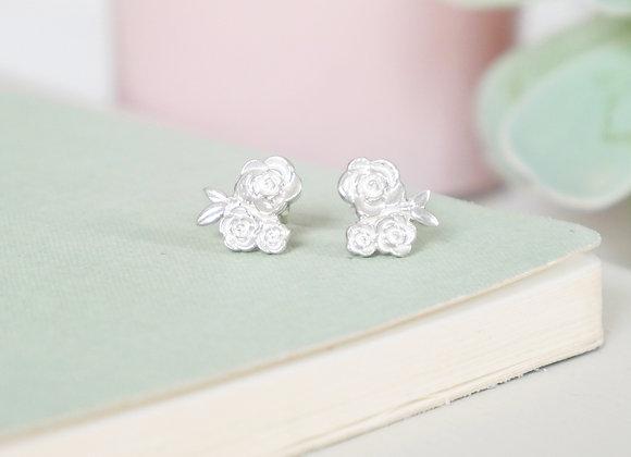Sterling Silver Floral Cluster Stud Earrings