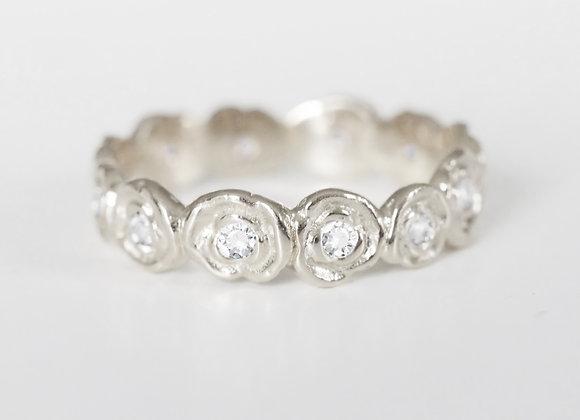 White Gold Diamond Ring of Roses