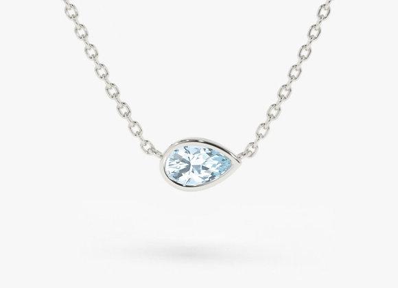 Pear Aqua White Gold Necklace