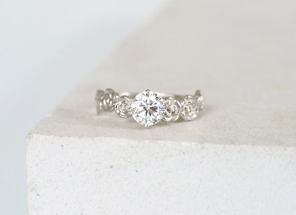 White Gold Floral Diamond Engagement ring