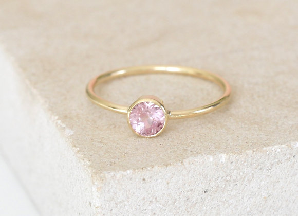 Yellow Gold Bezel Set Pink Spinel