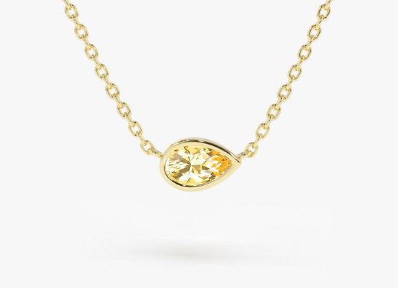 Pear Citrine Yellow Gold Necklace