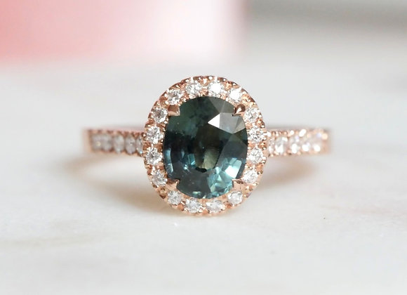 Teal Spinel and Diamond Halo Ring