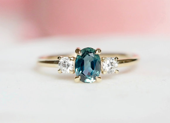 Teal Sapphire and Diamond ring