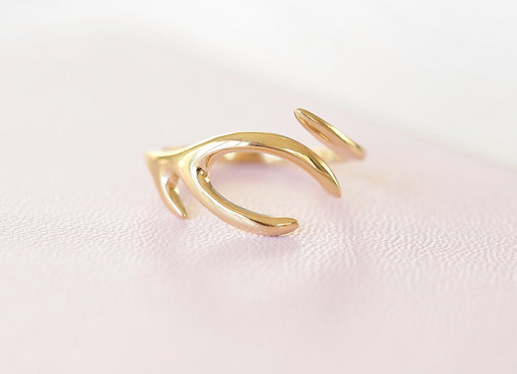 Yellow Gold Antler Ring