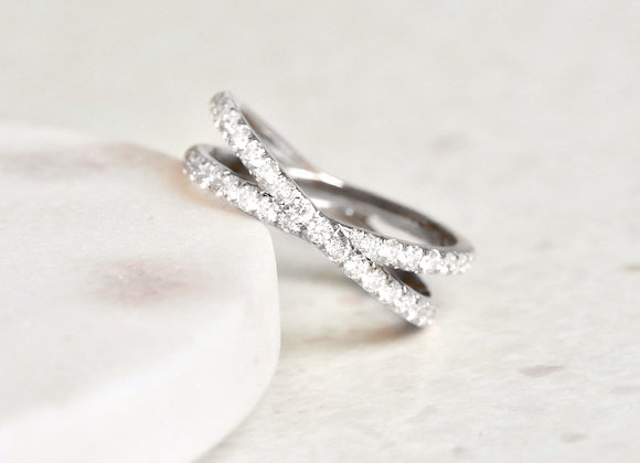 Criss Cross White Gold Diamond Eternity Ring