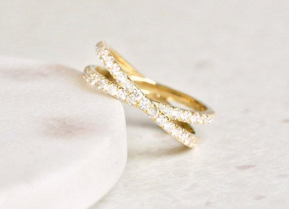 Criss Cross Yellow Gold Diamond Eternity Ring