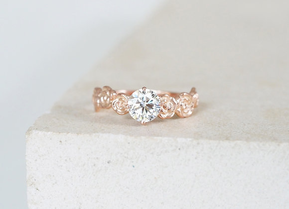 Rose Gold Floral Diamond Engagement ring