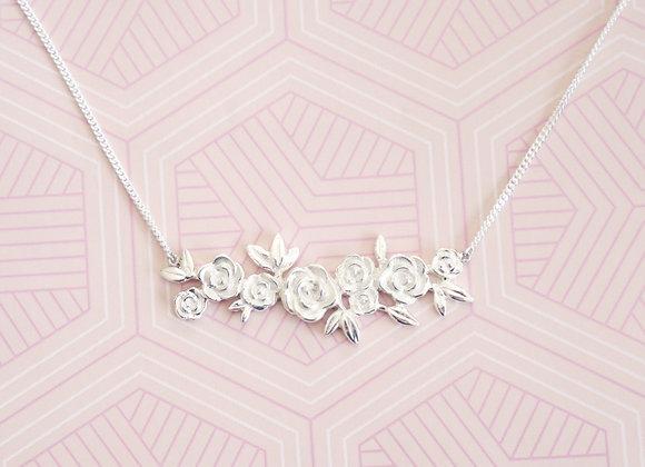 Sterling Silver Rose Cluster Necklace