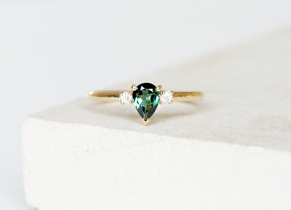 Pear Tourmaline and Diamond ring