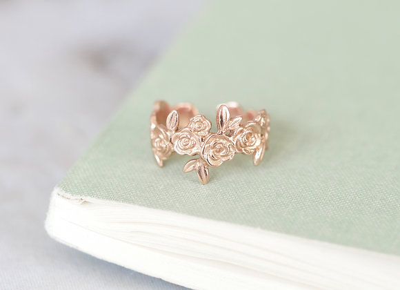 9ct Rose Gold Floral Ring Size O-R