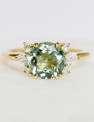 Pistachio Tourmaline and Diamond Cluster Ring