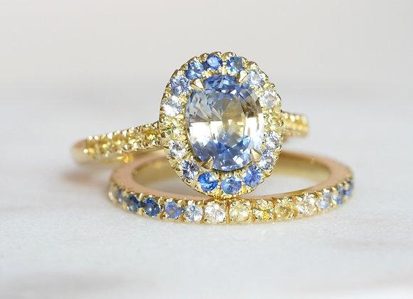 Bi-colour Sapphire Halo Ring