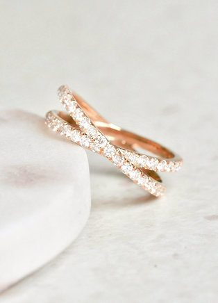 Criss Cross Rose Gold Diamond Eternity Ring