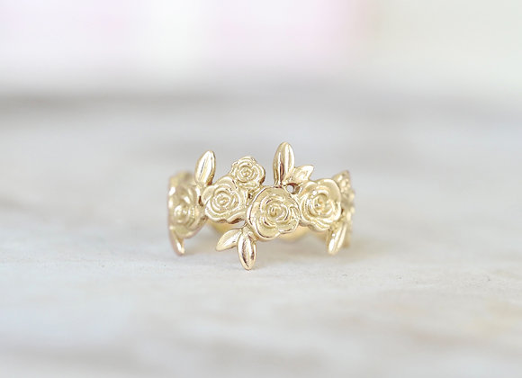 Adjustable 9ct Yellow Gold Floral Ring