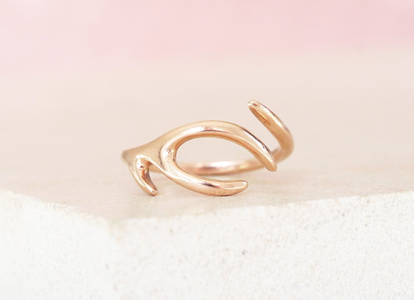 Rose Gold Antler Ring Size J-O