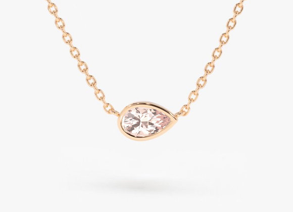 Pear Morganite Rose Gold Necklace