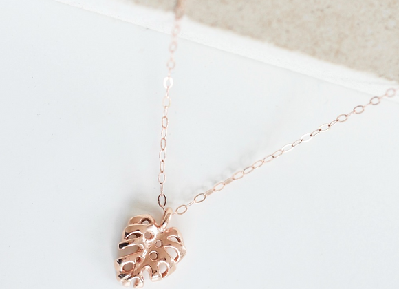 9ct Gold Monstera Palm leaf Necklace