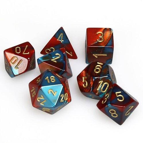 Chessex 26462 Red-Teal/Gold Polyhedral 7 Die Set