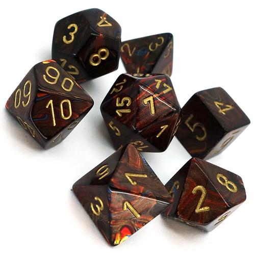 Chessex 27419 Scarab Blue Blood/Gold Polyhedral 7 Die Set